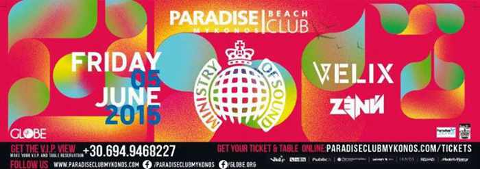 Ministry of Sound event at Paradise Beach Club June 5 2015