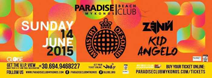 Ministry of Sound event at Paradise Beach Club Mykonos June 14 2015