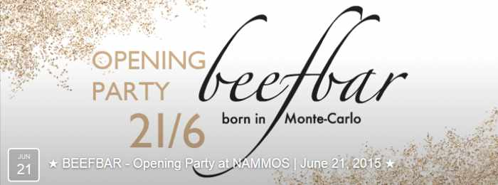 Nammos restaurant and bar Mykonos flyer for June 21 2015 opening party for Beefbar