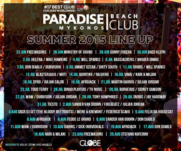 Paradise Beach Club Mykonos DJ lineup for summer 2015