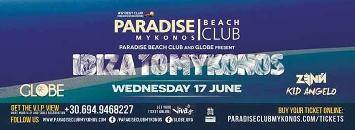 Paradise Beach Club Mykonos Ibiza to Mykonos party June 17 2015