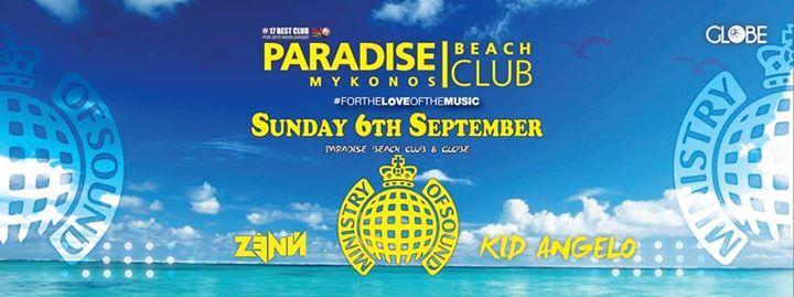 Paradise beach club Mykonos Sept 6 2015 party with Zenn and Kid Angelo