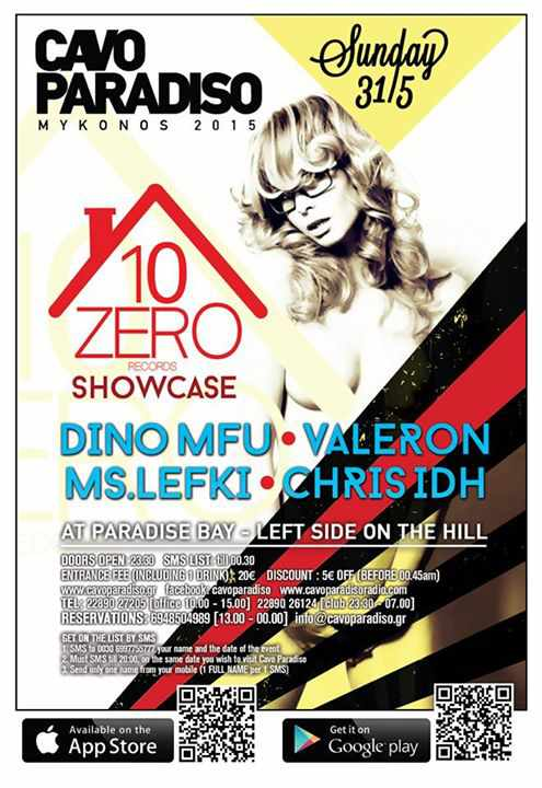 Poster for the Zero10 Records Showcase event at Cavo Paradiso May 31 2015