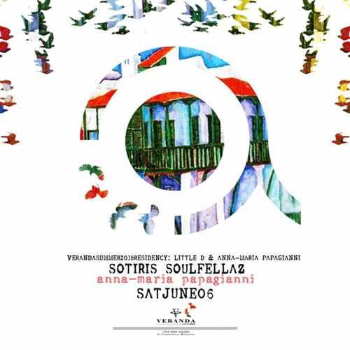Promotional flyer for Veranda Cafe Bar Mykonos event featuring Sotiris Soulfellaz