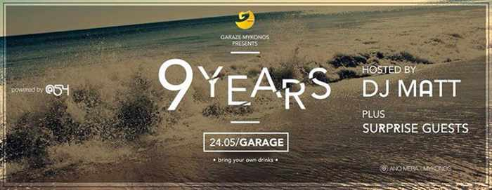 Promotional image for Garage Mykonos 9th anniversary party May 24 2015