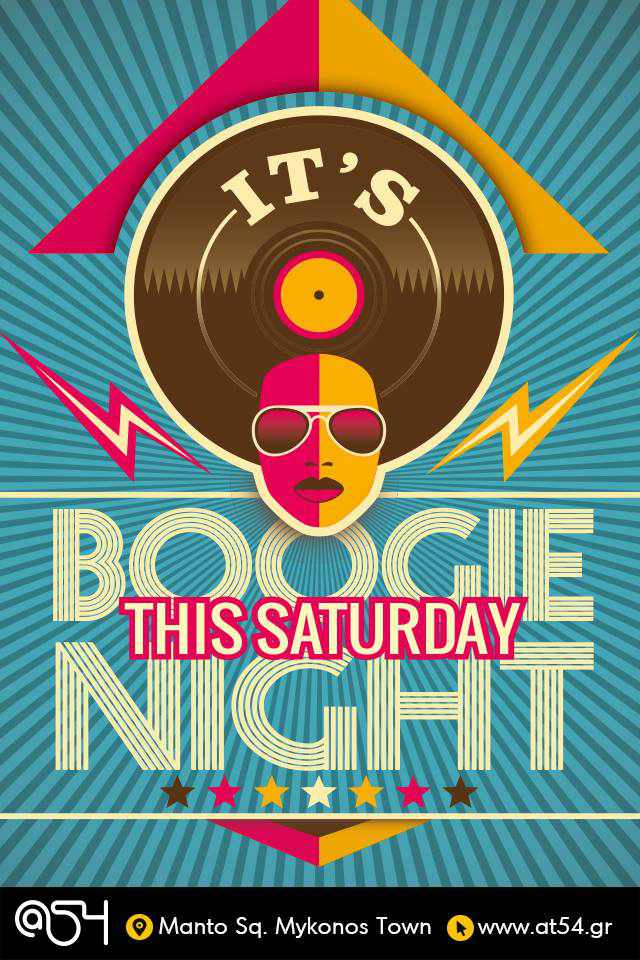 Promotional poster for At54 club Boogie Nights