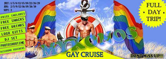 Promotional poster for gay party cruises on Mykonos in July August and September 2015