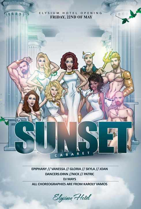 Promotional poster for the Elysium Hotel's sunset cabarets starting May 22 2015