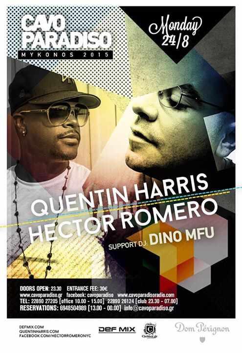 Quentin Harris & Hector Romero with Dino MFU at Cavo Paradiso