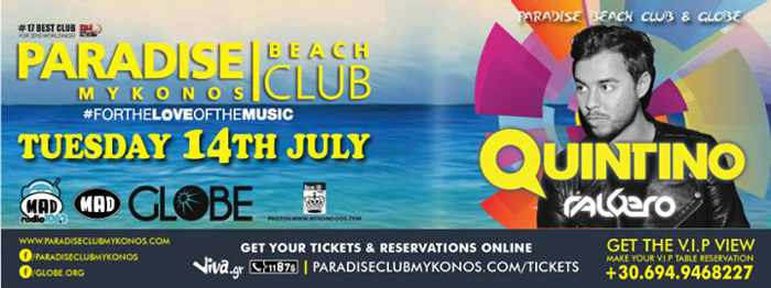 Quintino at Paradise beach club