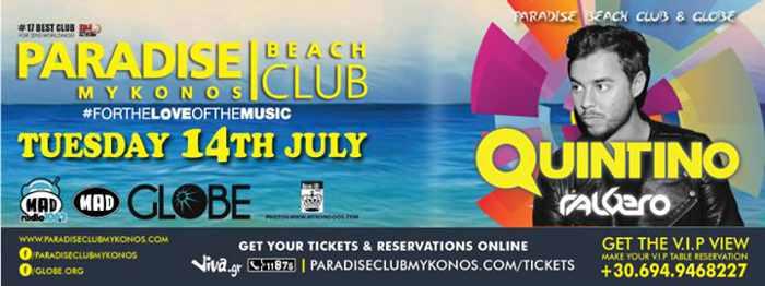 Quintino at Paradise beach club
