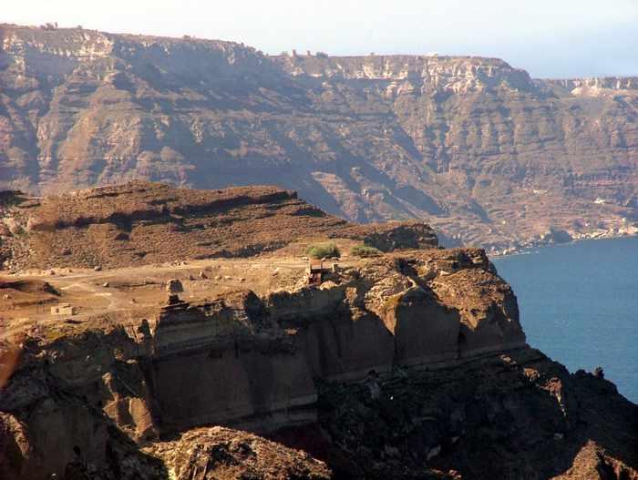 Santorini caldera cliffs