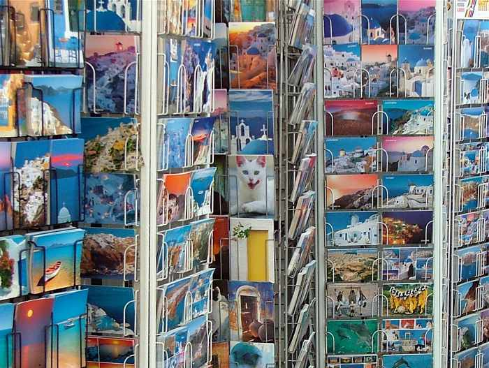 postcards in Oia