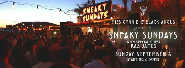 Scorpios Mykonos Sneaky Sundays event with Kaz James