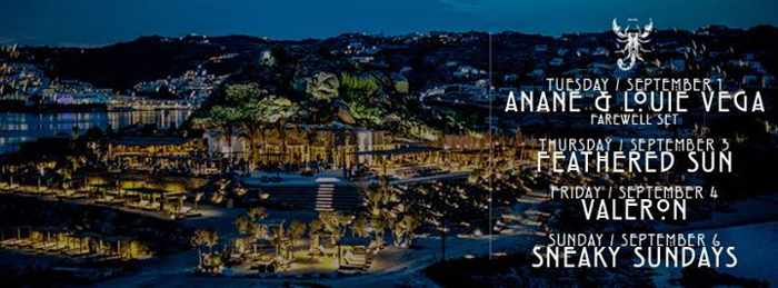 Scorpios Mykonos events September 1 to 6 2015