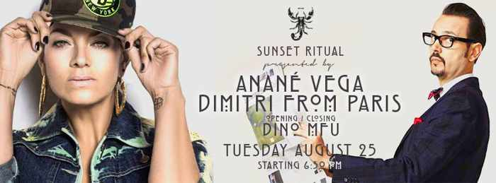 Scorpios Mykonos sunset ritual with Anane Vega and Dimitri from Paris