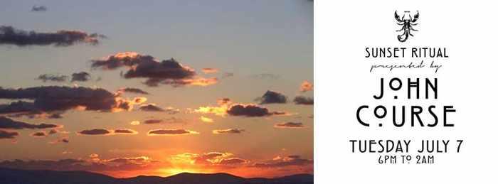 Sunset Ritual with John Course July 7 2015 at Scorpios beach club Mykonos