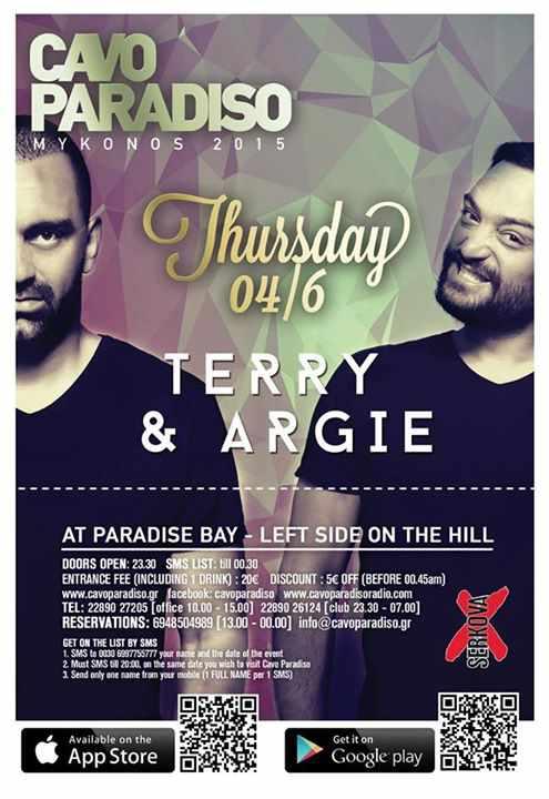 Terry & Argie headline at Cavo Paradiso on June 4 2015