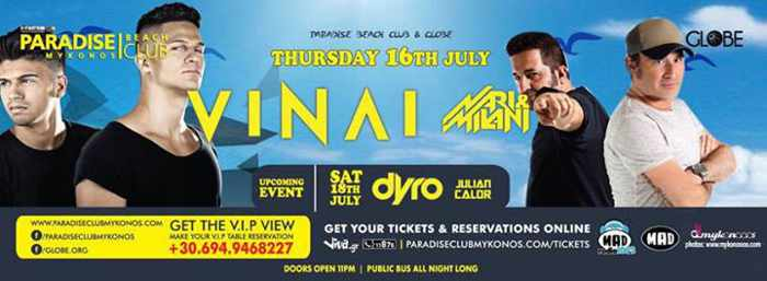 Vinai at Paradise beach club Mykonos