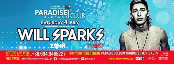Will Sparks at Paradise beach club Mykonos