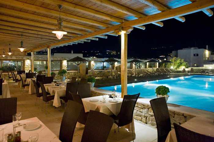 Aleka Restaurant at Yiannaki Hotel Mykonos photo from the hotel Facebook page