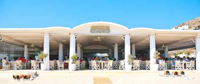 beach view of Elia restaurant at Elia beach Mykonos