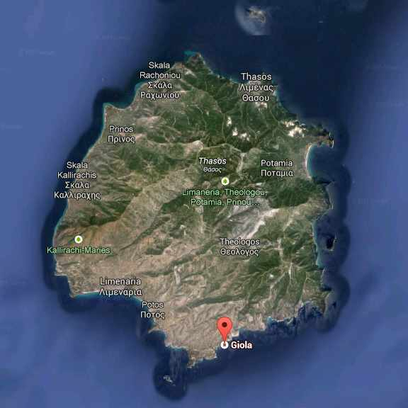 Giola lagoon location shown on Google map of Thassos