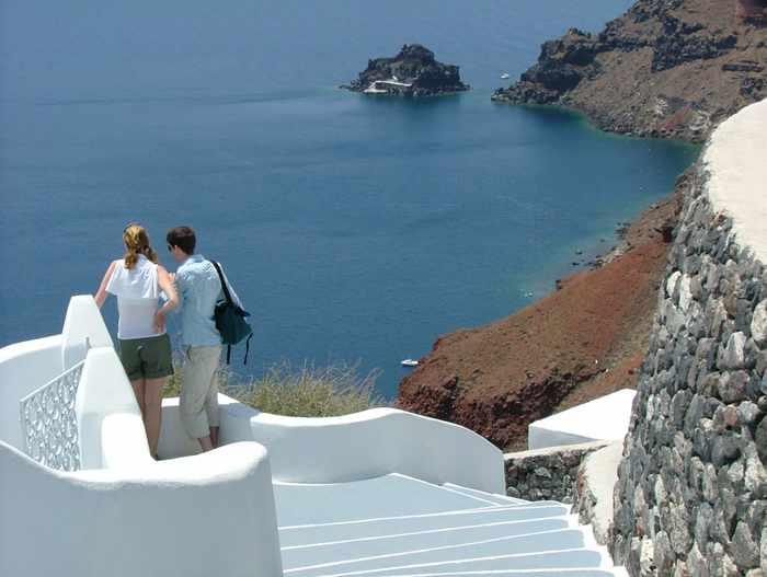 Oia view of Agios Nikolaos islet