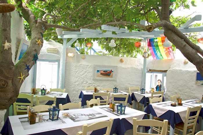 Outdoor dining terrace at Kounelas Fish Taverna Mykonos