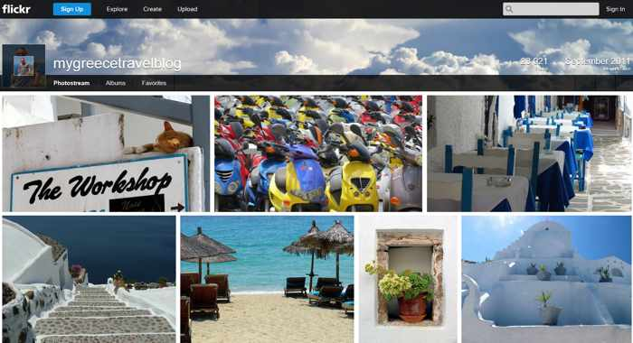 Screenshot of the mygreecetravelblog page on Flickr