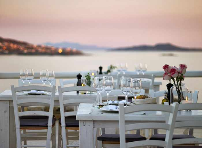 Seaview dining at the Rocabella Mykonos hotel at Agios Stefanos photo from the hotel website