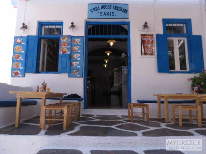 Street view of Sakis Grill House Mykonos