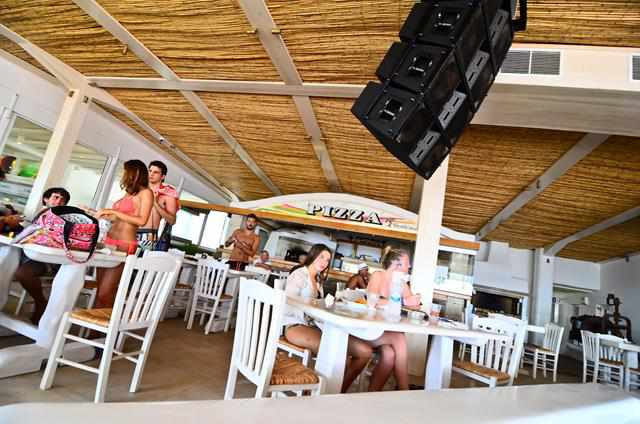 Table service restaurant at Tropicana Club at Paradise beach Mykonos