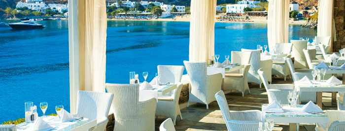 VIP restaurant at Petasos Beach Resort & Spa Mykonos photo from the hotel website