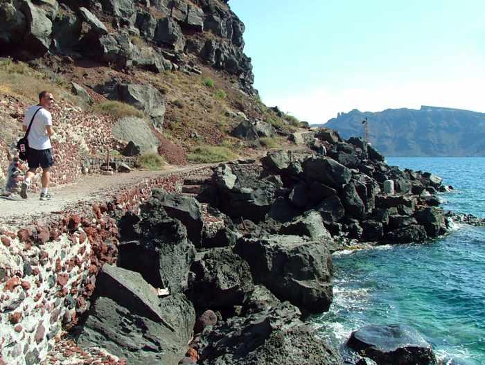 the coastal path at Amoudi Bay