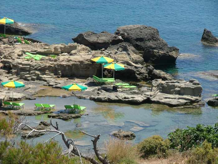 sunbeds on the coast at Kallithea Rhodes