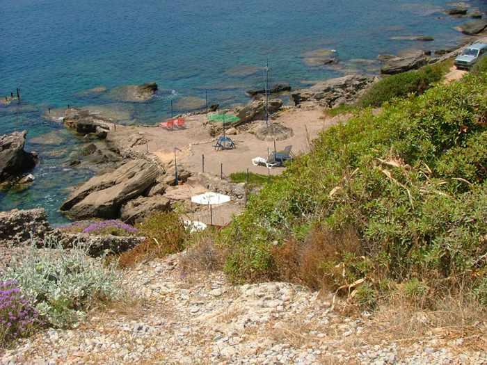 sunbeds on the Kallithea coast of Rhodes
