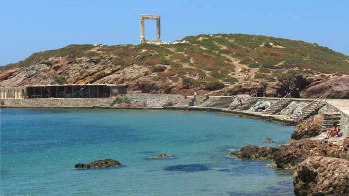 swimming area below the Temple of Apollo on Naxos