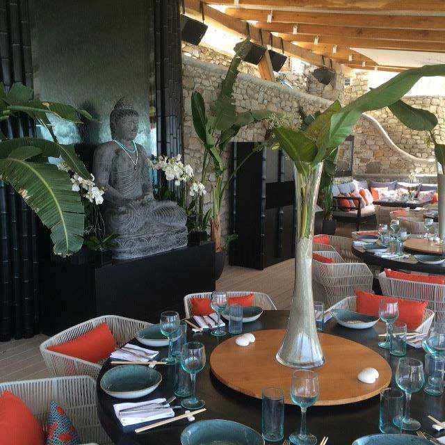 Buddha-Bar Beach restaurant and bar at Santa Marina Resort Mykonos photo from the resort Facebook page