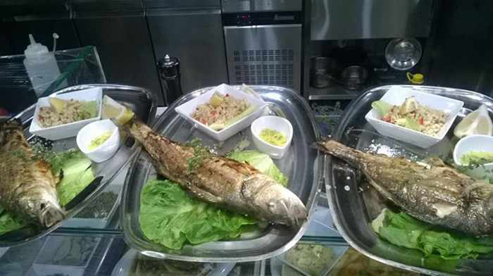 Catch of the day with salad from Seafood Ideas restaurant at Food Mall Mykonos