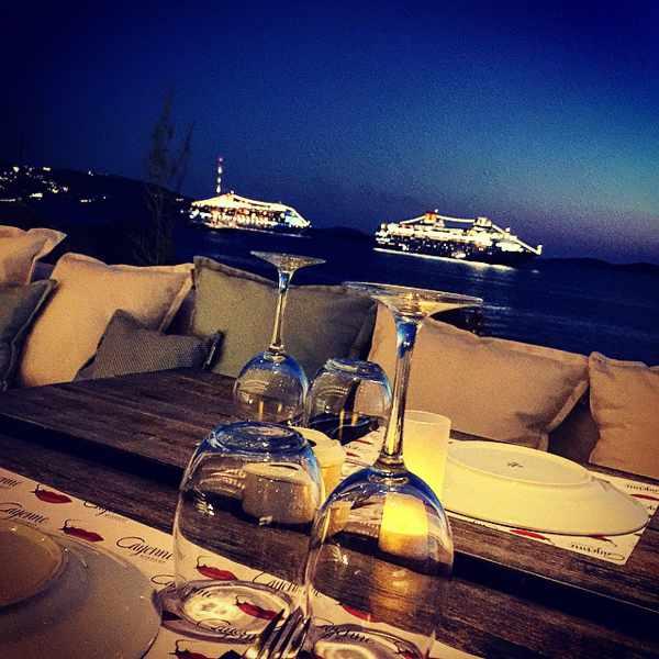 Cayenne Mykonos nighttime harbour view