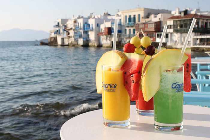Cocktails at Caprice in Little Venice Mykonos seen in a photo from the Caprice Facebook page