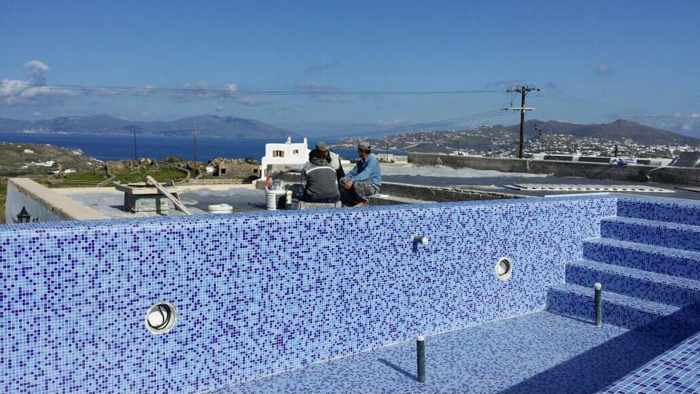 Colours of Mykonos Luxury Residences & Suites swimming pool construction