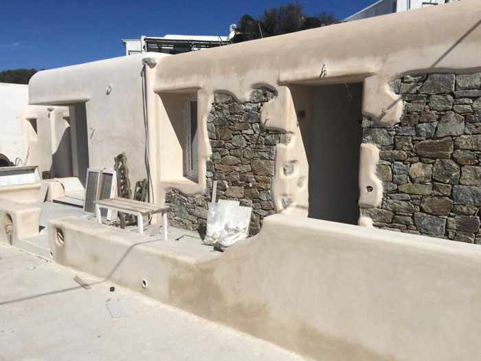 Colours of Mykonos construction work on suite exteriors photo from the Colours Facebook page
