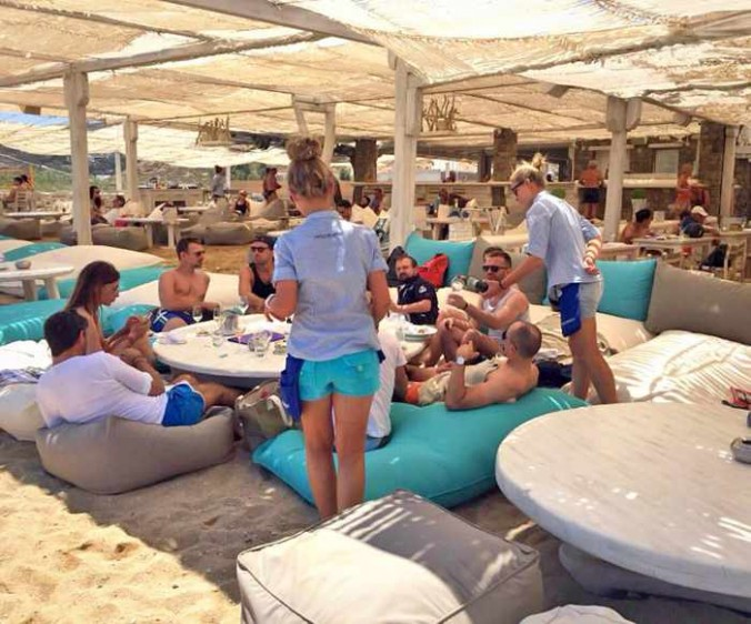 Comfy poufs at Panormos Mykonos Beach Resort