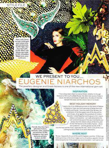 Conde Nast Traveller July 2015 article on Eugenie Niarchos