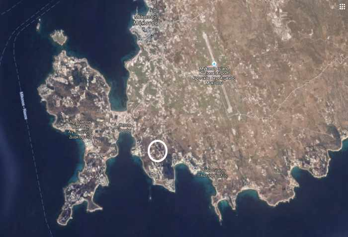 Google map view of approximate location of Colours of Mykonos Luxury Suites
