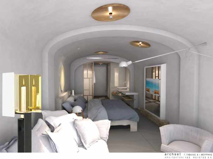 Interior of a room at Mykonos Blanc Hotel seen in image from hotel Facebook page