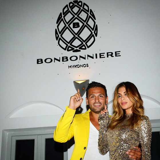 Joe Fournier and Nicole Scherzinger at Bonbonniere Mykonos
