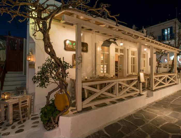 M-eating restaurant Mykonos exterior view photo from its Facebook page